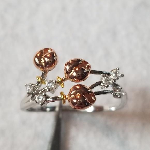 Sterling & 18k Rose Buds Ring
